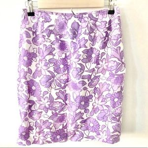 50%OFF Sale! LOFT Purple Floral Pencil Skirt